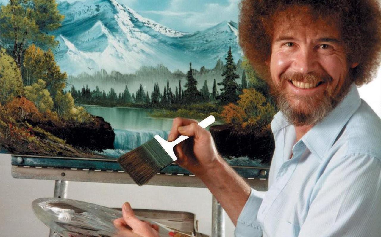 Bob Ross cultheld die landschappen met gemak op het witte doek toverde.