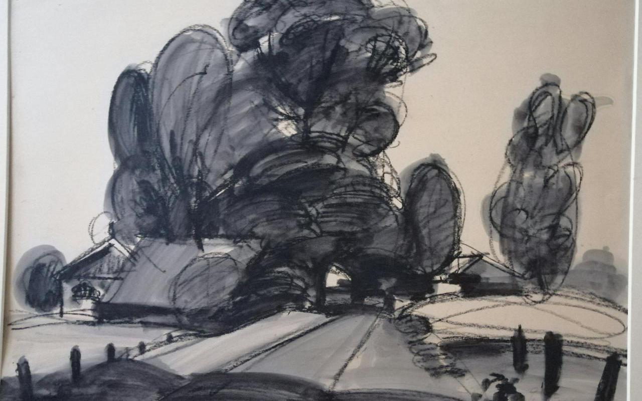 Eén van de landschapstekeningen van Jentsje Popma die komend weekend te koop is.