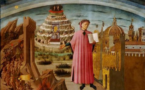 Dante met de Divina Commedia in de hand, geschilderd in 1465 door Domenico di Michelino en te zien in Florence.