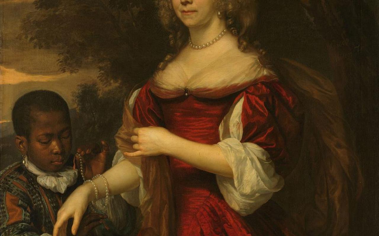 Margaretha van Raephorst, echtgenote van Cornelis Tromp, met zwarte page. Uitsnede uit het schilderij van Jan Mijtens (1668). De familie op Groot Terhorne had ook zo'n page als statussymbool.