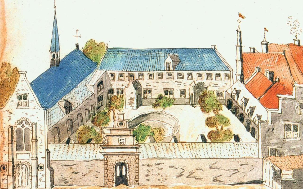Prent van de oude academie van Franeker.