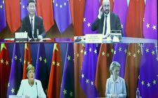 Vanaf linksboven met de klok mee: de Chinese president Xi Jinping, EU-president Charles Michel, Commissievoorzitter Ursula von der Leyen en de Duitse bondskanselier Angela Merkel tijdens een digitale topontmoeting in september vorig jaar.