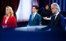 Lilian Marijnissen (SP), Rob Jetten (D66), Jesse Klaver (Groenlinks) en Geert Wilders (PVV) tijdens het eerste lijsttrekkersdebat voor de Tweede Kamerverkiezingen. Het debat is georganiseerd door de drie noordelijke provincies en drie dagbladen.