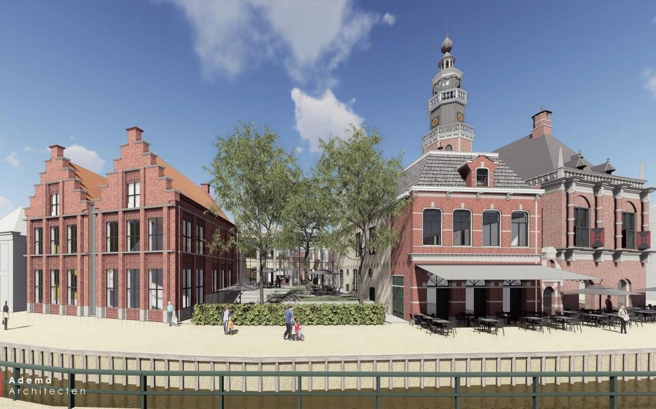 Een impressie van hoe het monumentale stadhuis van Bolsward er na de verbouwing uit moet zien.