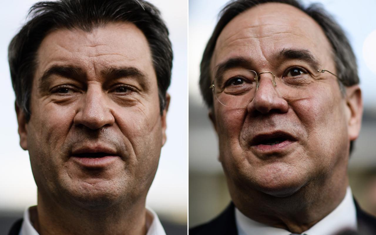 Wie wordt bij de kandidaat-Bondskanselier van de Duitse christendemocraten, CSU-leider Markus Söder (l) of CDU-voorzitter Armin Laschet?