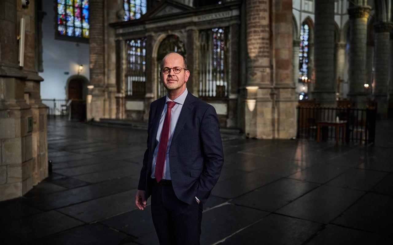 """Ds. Marco Batenburg in de Sint Janskerk in Gouda: ,,Als vader, echtgenoot, predikant en kerkbestuurder is het een jaar geweest zoals ik dat niet eerder heb meegemaakt."""""""