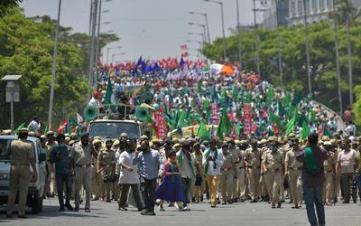 Een boerenprotest in Bangalore vorige maand.