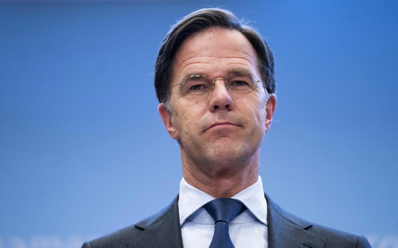 Demissionair premier Mark Rutte op de persconferentie.