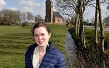 """Marijke Hoekstra bij de kerk van Swichum: ,,Ik denk dat we het idee van de religieuze functie die de kerk ooit had meer los moeten laten."""""""