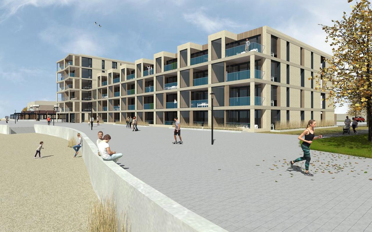 In het plan voor 32 recreatie-appartementen en nieuwe hotelkamers aan de Makkumer boulevard is bewust gekozen voor een rustige architectuur en vormgeving.