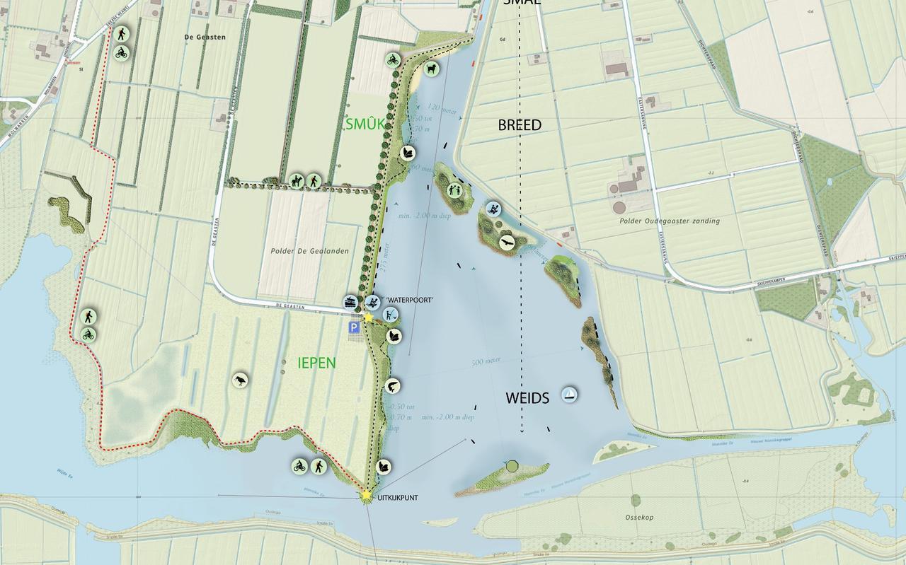 Plankaart van 'Oudega aan het water'.