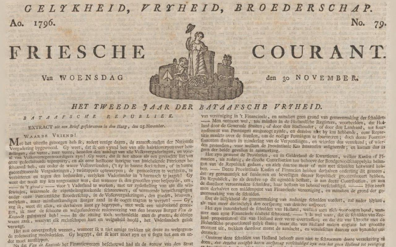 Voorblad van de 'Friesche Courant' van 30 november 1796.