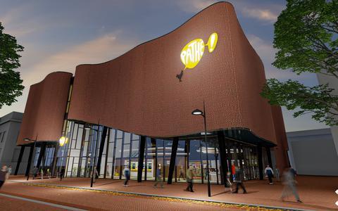 Het ontwerp van de nieuwe Pathé-bioscoop aan het Ruiterskwartier in Leeuwarden. Het gebouw staat er inmiddels al.