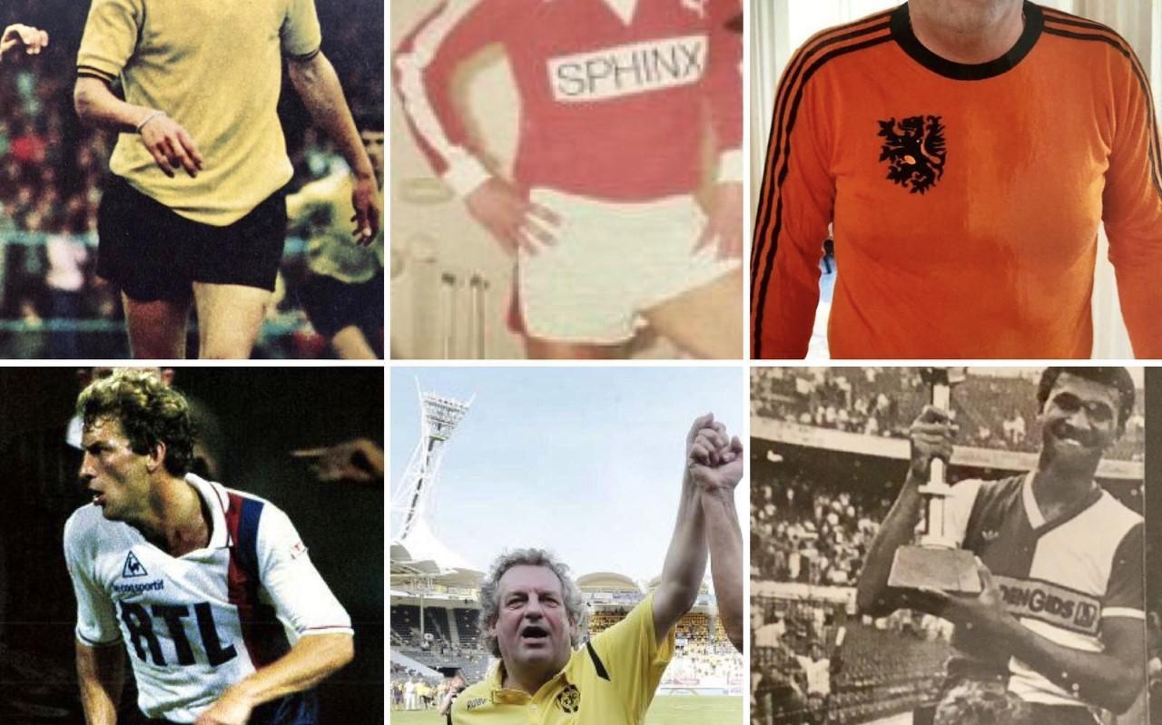Boven vlnr: Pierre Vermeulen als jong talent in het shirt van Roda JC, bij MVV beleefde hij een uitstekend jaar waarmee hij zijn toptransfer naar PSG afdwong en voor het Nederlands elftal kwam hij negenmaal uit waarin hij eenmaal scoorde. Onder vlnr: In Parijs werd hij een grote ster en veroverde hij de Franste titel, ook na zijn actieve loopbaan is zijn hart voor Roda JC blijven kloppen en bij Feyenoord speelde hij samen met onder meer Willem van Hanegem, Johan Cruijff en Ruud Gullit, die hij hier op zijn schouders heeft genomen.