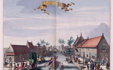De Tijgersgracht in Batavia. Hier woonde gouverneur-generaal Van Riemsdijk met tweehonderd slaafgemaakten. Uit de Atlas Van der Hagen, 1682.