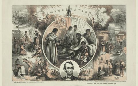 Briefkaart ter viering van het einde van de burgeroorlog en de afschaffing van de slavernij in de Verenigde Staten onder president Lincoln in 1865. Gepubliceerd door S. Bott, Philadelphia.
