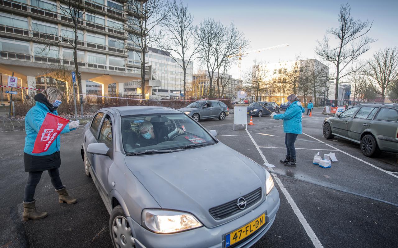 Een staking in januari in Leeuwarden.