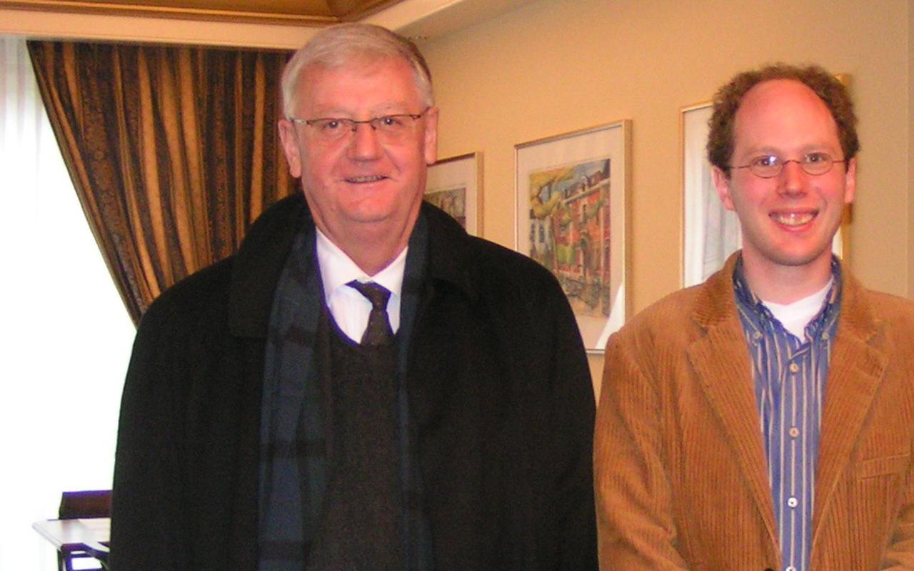 Eberhard Jüngel, samen met Willem Maarten Dekker in 2008.