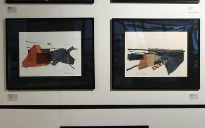 Niet eerder tentoongesteld vijfluik (collages met vlieseline, inkt, papier en typografische elementen) van Jan Loman.