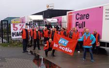 Eerder deze maand hielden de werknemers van wasserij CWS in Drachten een actie voor een betere cao.