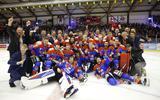 Het laatste wapenfeit van UNIS Flyers op 1 maart 2020, nadat Den Haag in de finale om het landskampioenschap in Thialf was verslagen, goed voor de tiende landstitel in de clubhistorie.  Foto: Henk Jan Dijks