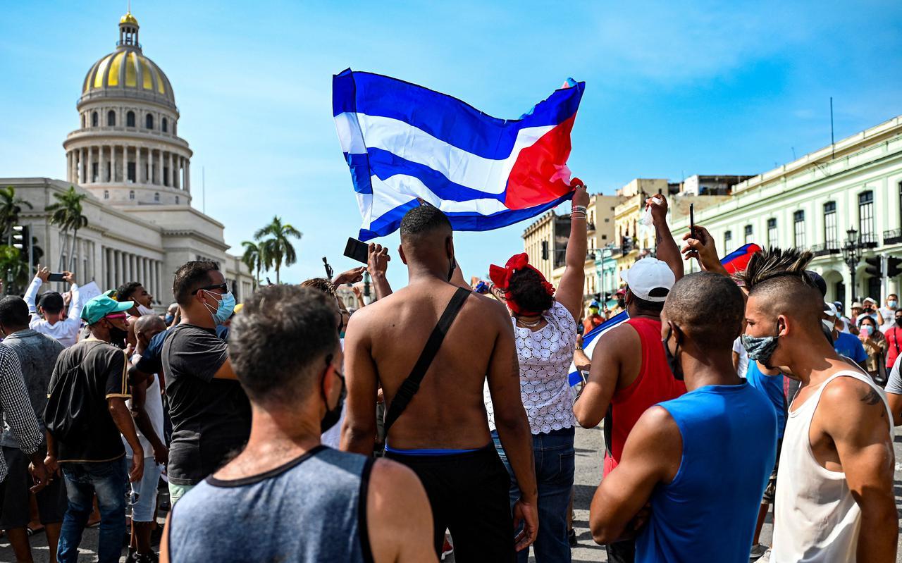 Protesten in Cuba op 11 juli 2021.