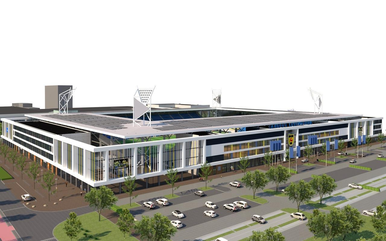 Het nieuwe Cambuurstadion. Impressie: Widdershoven Architecten