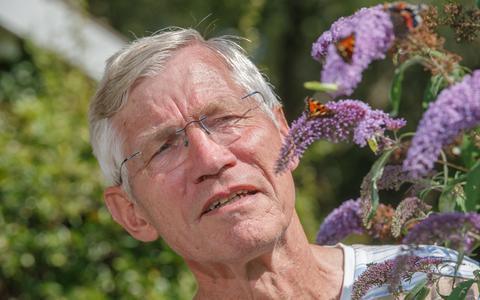 Vlinderkenner Siep Sinnema bij vlinderstruik. Het is een erg goed vlinderjaar.