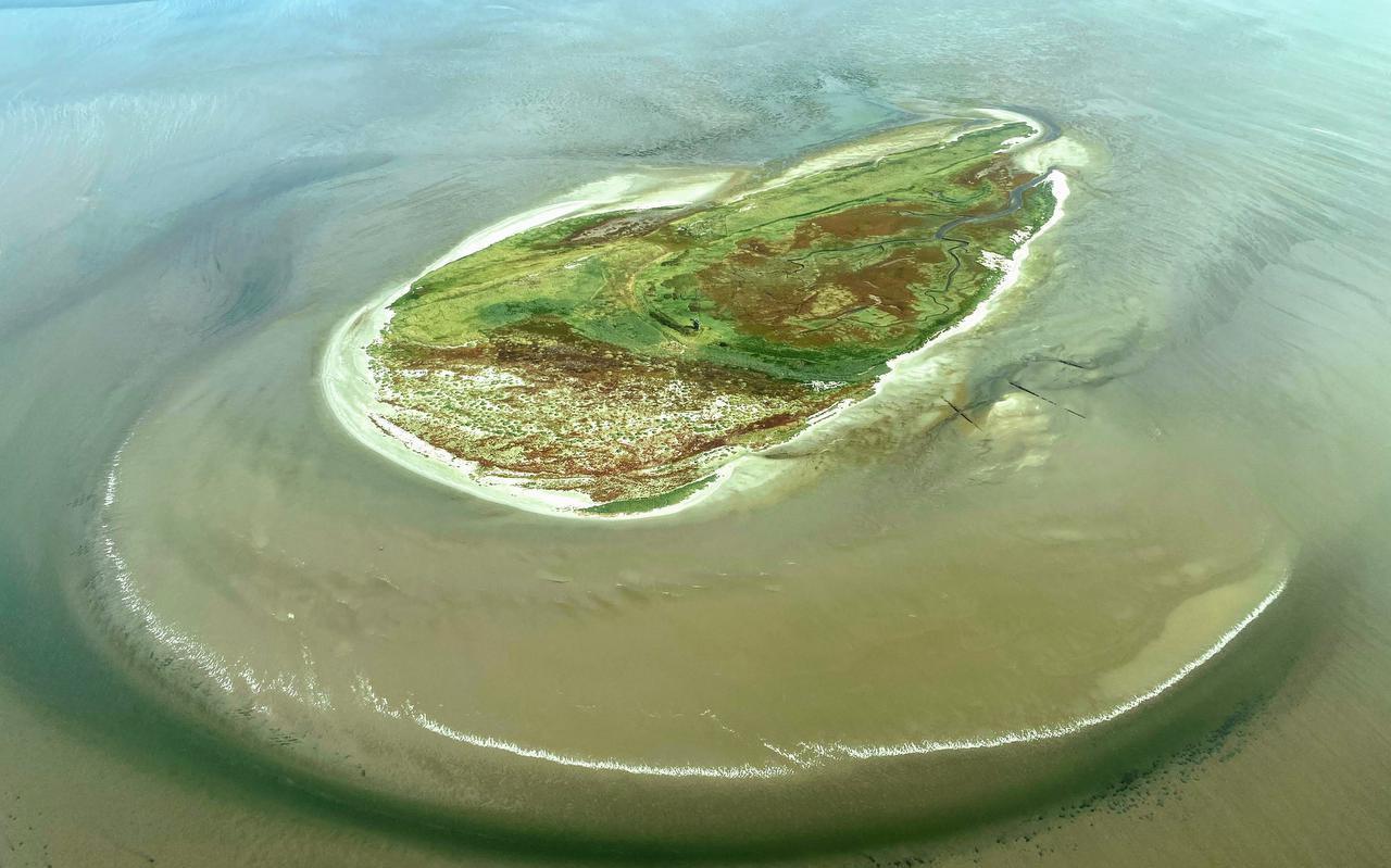 Luchtfoto van vogeleiland Griend ongeveer twaalf kilometer ten zuidwesten van Terschelling.