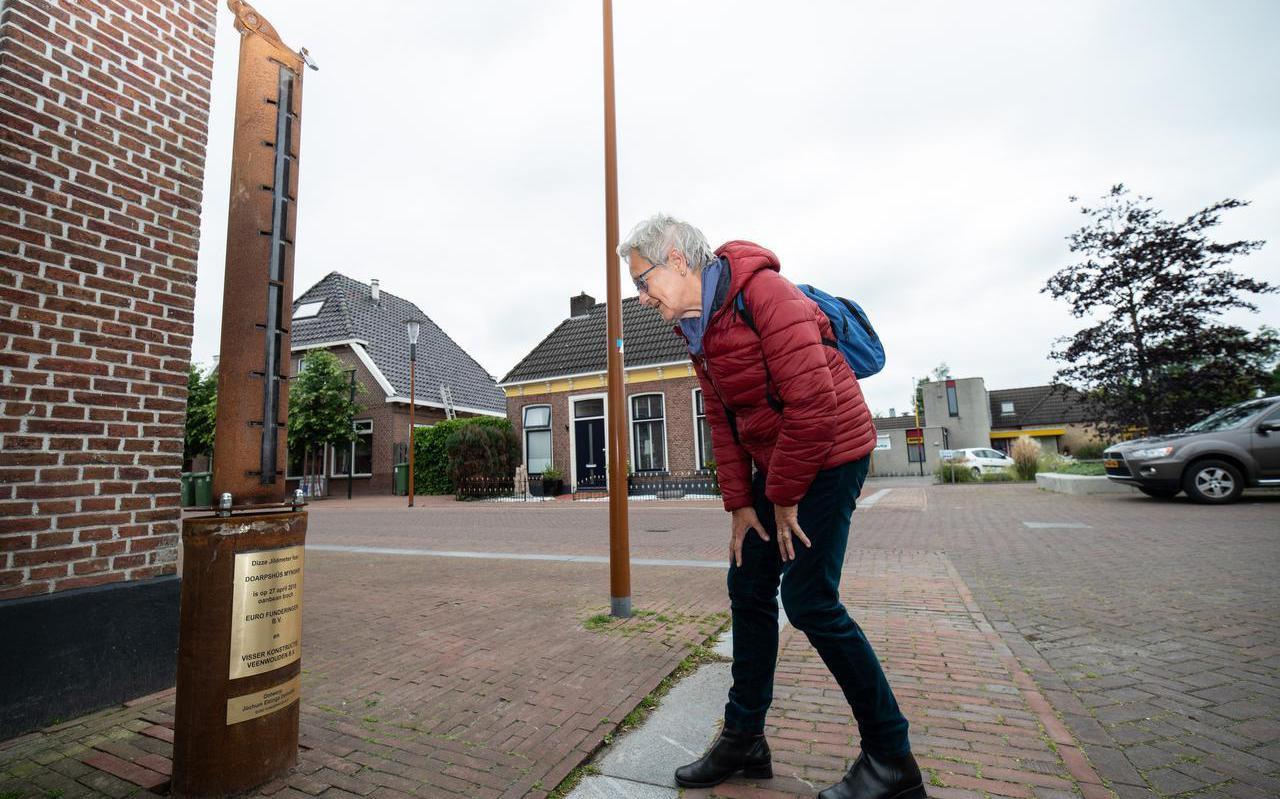 Een geldmeter in het centrum van Feanwâlden gaf in 2019 aan hoeveel geld er met hulp van inwoners is ingezameld voor De MynSkip.