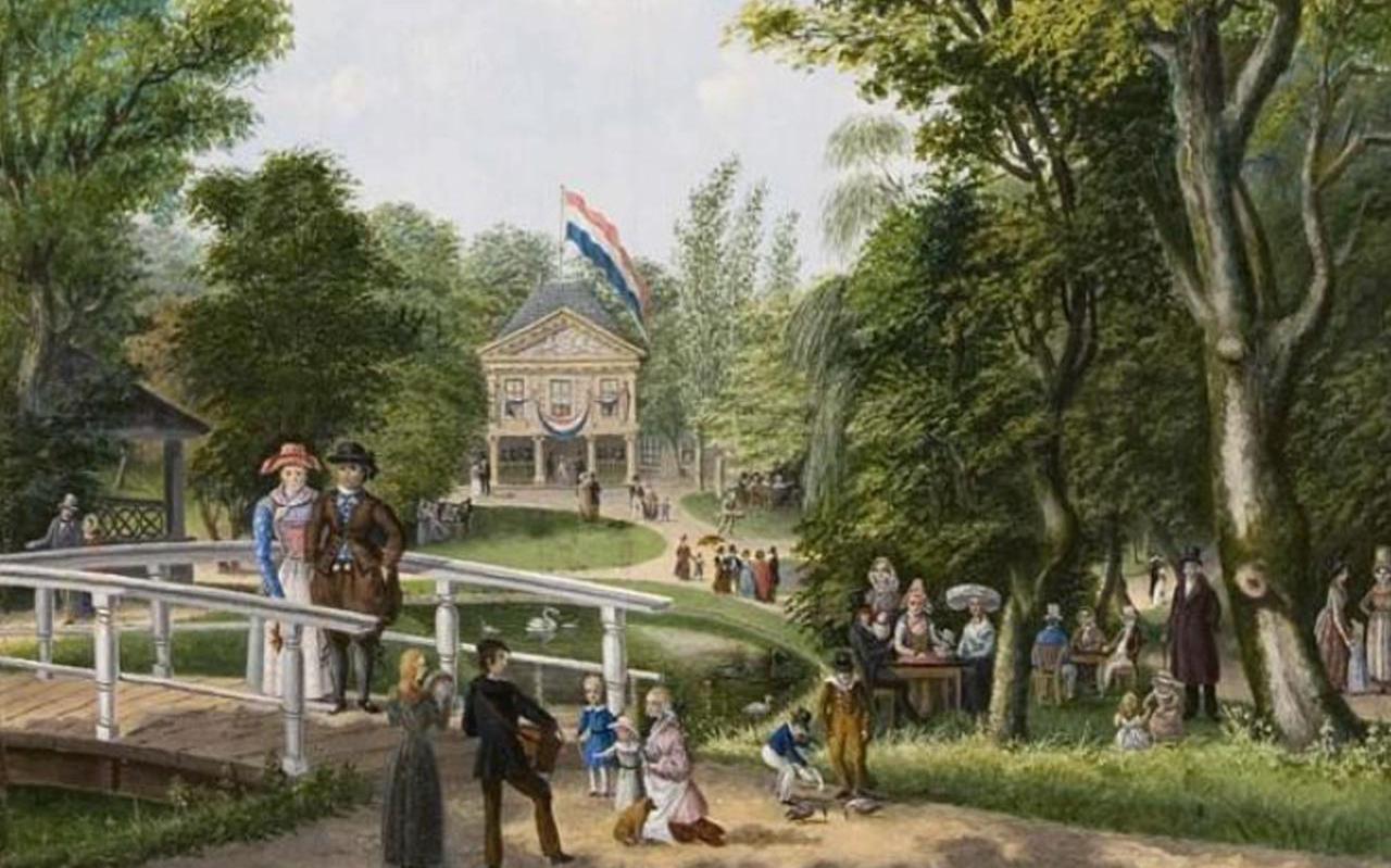 Schilderij van het feest in de Prinsentuin ter gelegenheid  van het bezoek van konin Willem I uit 1830 van Jacob Bonga