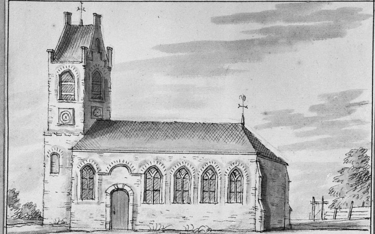 De kerk van Hiaure, 18de-eeuwse tekening van Jacobus Stellingwerf.