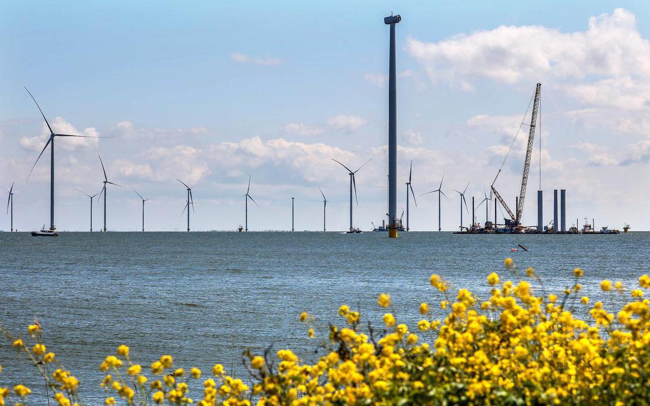 Windpark Fryslân bij Breezanddijk in aanbouw.