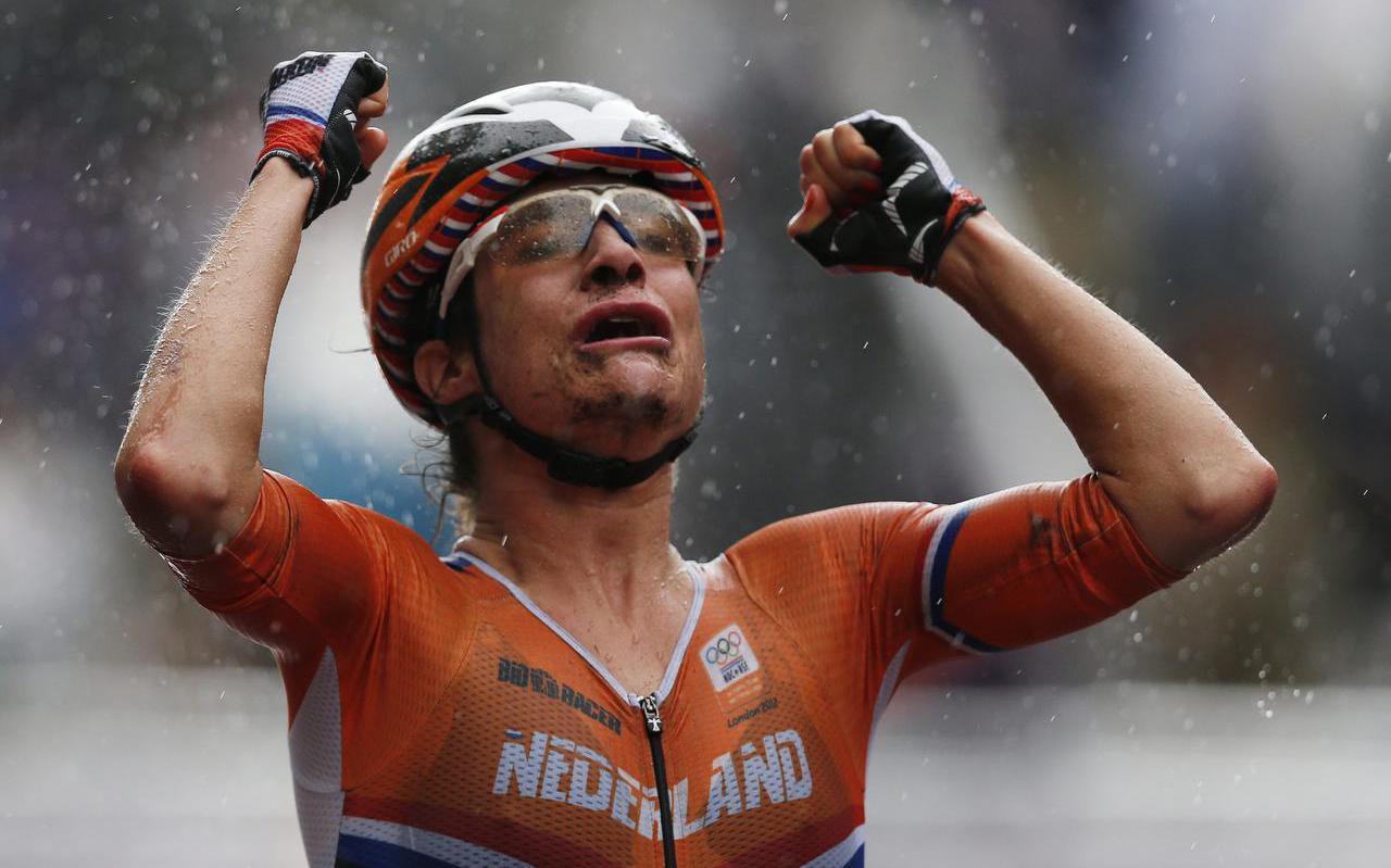 Vreugde bij Marianne Vos na het veroveren van de olympische titel in 2012.